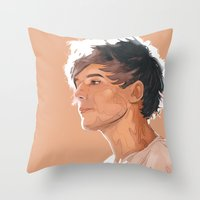 louis tomlinson Throw Pillows featuring Louis Tomlinson  by Danny Jarratt