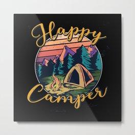Happy Camper Retro Sun Vintage Design Metal Print