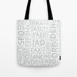 Grey Airport Codes Tote Bag