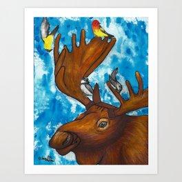 Four Birds and a Moose Art Print