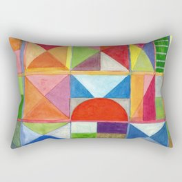 Grid with Centered Red Half Circle Rectangular Pillow