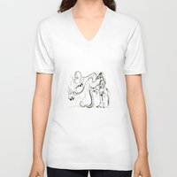 burlesque V-neck T-shirts featuring burlesque show by Hannah Aliyah Taylor
