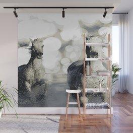 HORSES IN WATER Pop Art Wall Mural
