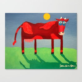 Udderly Confused - Funny Cow Art Canvas Print