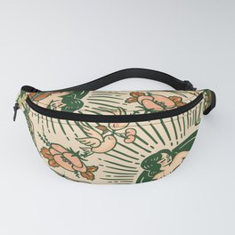 Whiskey & Lyrics Pattern Featuring A Pinup Girl Playing Guitar, Peach Cream Version Fanny Pack