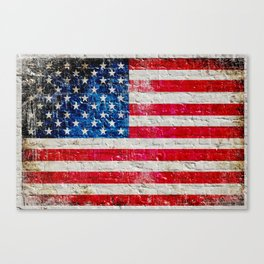 Distressed American Flag On Old Brick Wall - Horizontal Canvas Print