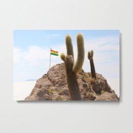 Cactus island Uyuni Bolivia. Isla Incahuasi, Inkawasi or Inka Wasi Metal Print