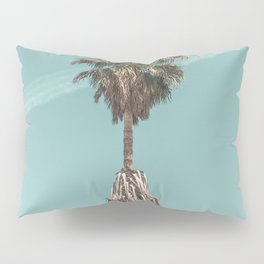 Malibu Beach Palm // California Beach Vibes Teal Ocean Sky Jetstream Photograph Pillow Sham
