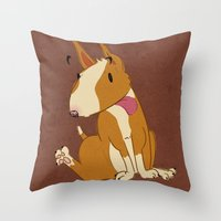 bull terrier Throw Pillows featuring Bull Terrier by Kristen Rimmel