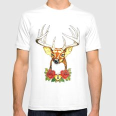 Oh deer. White SMALL Mens Fitted Tee