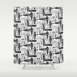 Gamer Lingo-White and Black Shower Curtain