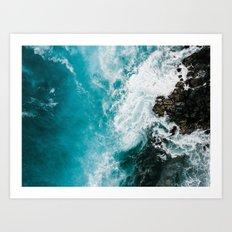 Hawaii Rocky Beach WAves Art Print