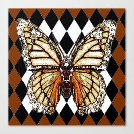 BLACK HARLEQUIN PATTERNED BROWN-WHITE  BUTTERFLY Canvas Print