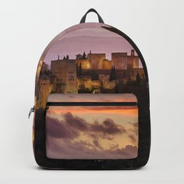 The Alhambra Palace and Granada at sunset. Before the storm. Backpack