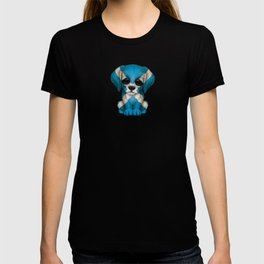 Cute Puppy Dog with flag of Scotland T-shirt