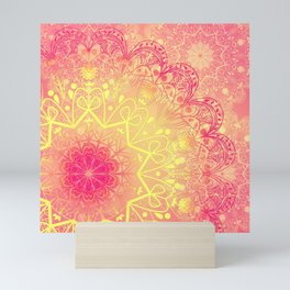 Mandala in Rose and Lemon Mini Art Print