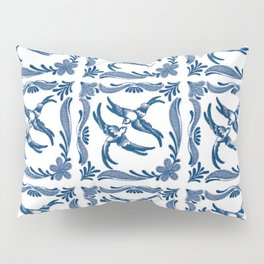 Blue and white swallows birds chinoiserie china porcelain toile asian ginger jar delft pattern Pillow Sham
