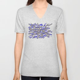 Blue Fragmentation Unisex V-Neck