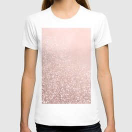 Rose Gold Sparkles on Pretty Blush Pink VI T-shirt