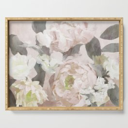 Soft Pink Peonies Floral Serving Tray