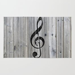 Vintage black music note Treble Clef gray wood Rug