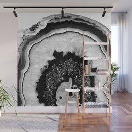Gray Black White Agate with Black Silver Glitter #2 #gem #decor #art #society6 Wall Mural