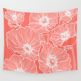 Coral Poppies Wall Tapestry