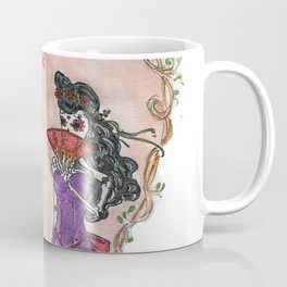 Day of the Dead sugar skulls Dead Lovers in a floral heart Coffee Mug
