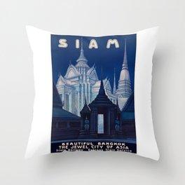1920 SIAM Beautiful Bangkok Travel Poster Throw Pillow