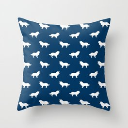 Border Collie navy and white minimal silhouette dog silhouettes dog breeds pattern Throw Pillow