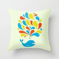 Colorful Swirls Happy Cartoon Whale Throw Pillow