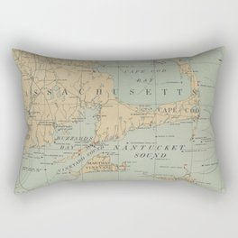 Vintage Massachusetts Lighthouse Map (1898) Rectangular Pillow