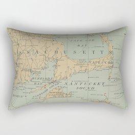 Vintage Massachusetts Lighthouse Map (1898) Rectangular Pillow