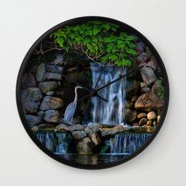 Blue Heron At River Waterfall Wall Clock