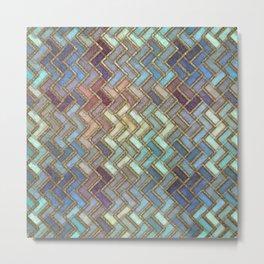 Colorful Royal Gold Geometric Pattern III Metal Print