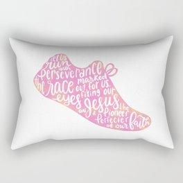 Hebrews 12:1-2 - Run the Race - pink Rectangular Pillow