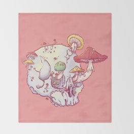 Skull No.1 // The Mushrooms One Throw Blanket