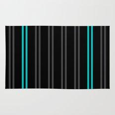 Charcoal Gray/Teal/Black Vertical Stripes Rug