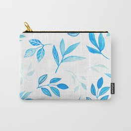 Tropical Bright Blue Leaves Carry-All Pouch