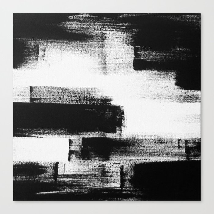 No 85 Modern Abstract Black And White Painting Canvas Print