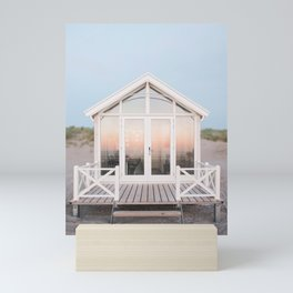 Beach house with reflecting sunset | The Hague, Netherlands | Pastel colors wall art print photography Mini Art Print