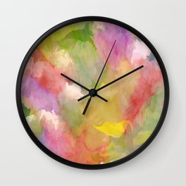 Rainbow Watercolor Floral Abstract Wall Clock