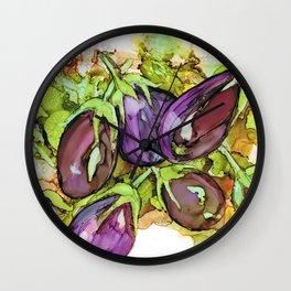 Aubergines Eggplants Berenjenas Wall Clock