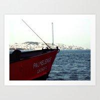 Ferry in Portugal Art Print