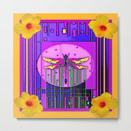 Modern ART DECO Gold Hibiscus & Dragonfly  Art Metal Print