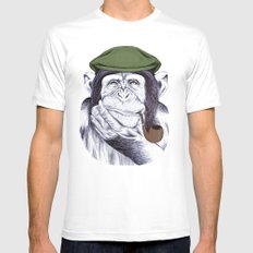 Wise Mr. Chimp Mens Fitted Tee White MEDIUM