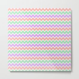 Coral Peach Pink and Lavender and Mint Green Chevron Metal Print