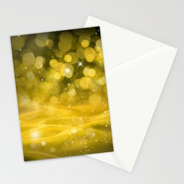 Whimsical Gold Glowing Christmas Sparkles Bokeh Festive Holiday Art Stationery Cards