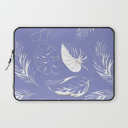 pattern with tropical white leaves Laptop Sleeve