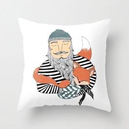 Man and fox. Throw Pillow